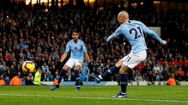 Silva en el 1-0. Foto: Premier League.