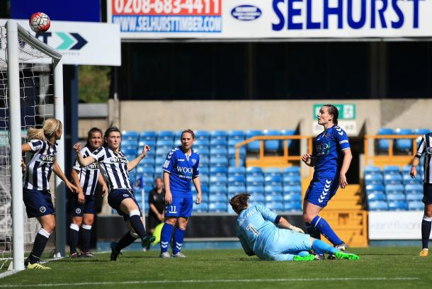McFadden watches her headed strike the woodwork  (credit: Simon Roe)