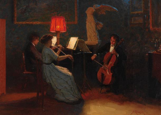 Nocturno con violonchelo (siglo XIX) de Simon Glücklich. Wikipedia (PD)