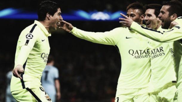 Suárez celebrando uno de sus goles ante el City I Fuente: Getty Images