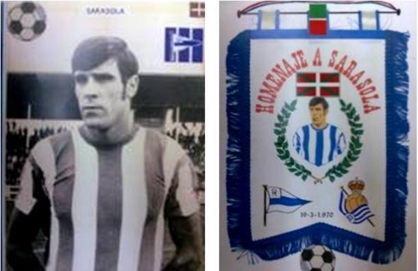 Andoni Sarasola, a su llegada al Alavés y banderín del homenaje. Fuente: glorioso.net