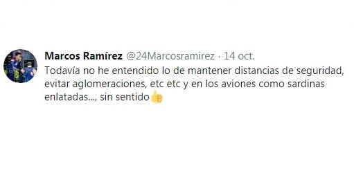 Marcos Ramirez opina sobre la poca seguridad en los viajes. Foto: twitter.com