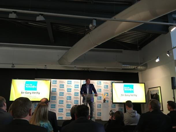 Sir Gary Verity announces the route for the 2017 Tour de Yorkshire. | Photo: Adam Bailey/VAVEL