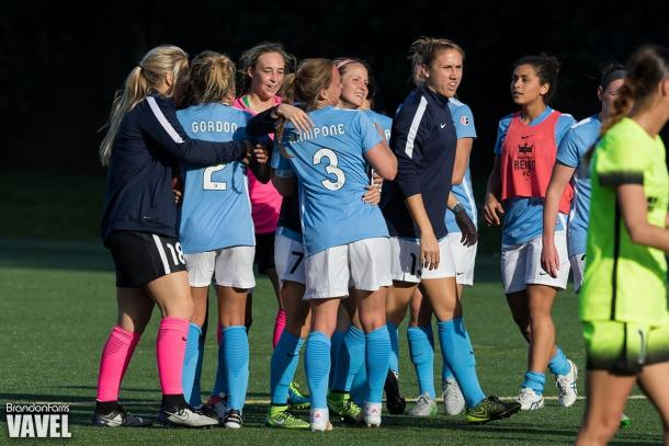 Sky Blue FC celebrates after ending Seattle's two-year unbeathen streak at home | Source: Brandon Farris - VAVEL USA