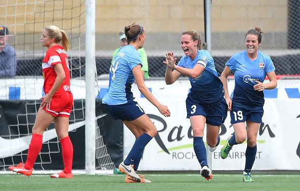 Christie Rampone #3 of Sky Blue FC celebrates her goal during the second half with teammates Sarah Killion #14 and Kelley O'Hara #19 against the Western New York Flash at Sahlen's Stadium on July 19, 2015 in Rochester, New York. The Sky Blue FC and the Western New York Flash played to a 0-0 draw. (Photo by Rich Barnes/Getty Images