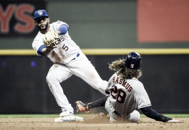 The Astros game against the Brewers was ended abruptly when Colby Rasmus was ruled out on an illegal slide | USA Today Sports