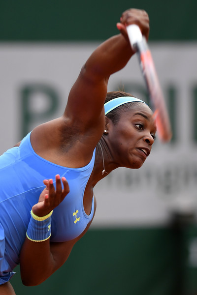 Sloane Stephens hits a serve during her win in Paris. Photo: Dennis Grombkowski/Getty Images