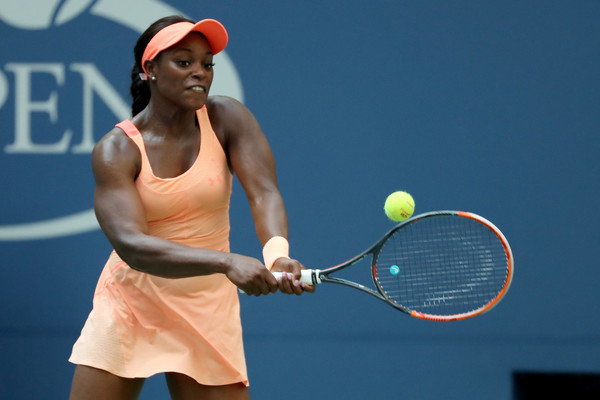 Sloane Stephens in action at her US Open quarterfinal against Sevastova | Photo: Getty Images North America