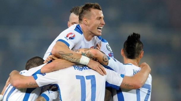 Comme toujours, les Slovaques célèbrent leurs buts ensemble (Source: gettyimages)
