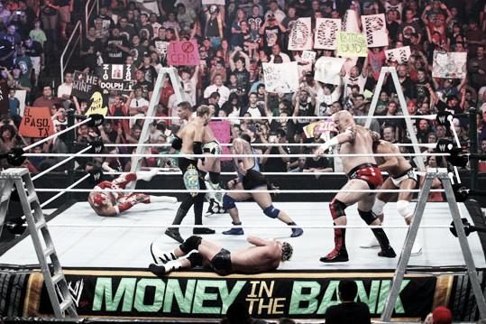 The SmackDown ladder match kicked off the show. Photo- BleacherReport.com
