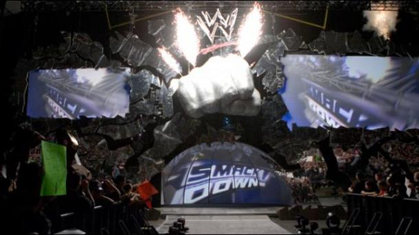 The Smackdown Fist was a popular set design. Photo: WWE