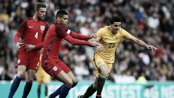 Chris Smalling in action in England's 2-1 win over Australia | Photo: Sky Sports