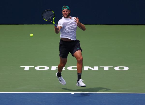 Sock crushes a forehand during the match against Medvedev. His forehand was at times huge, but also costly. Photo: Getty Images