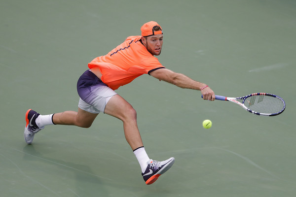 Jack Sock lunges for a shot during his second round win. Photo: Lintao Zhang/Getty Images