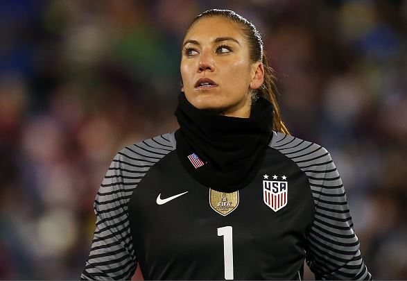 Hope Solo of United States of America walks in to position during an international friendly soccer match against Colombia at Pratt & Whitney Stadium on April 6, 2016 in East Hartford, Connecticut / Jim Rogash - Getty Images