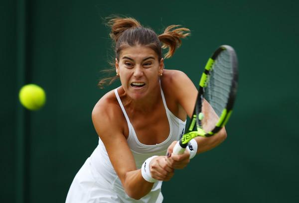 Sorana Cirstea hits a backhand at Wimbledon/Getty Images