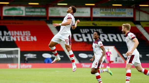Los jugadores del Soton celebrando el 2-0. Foto: Premier League