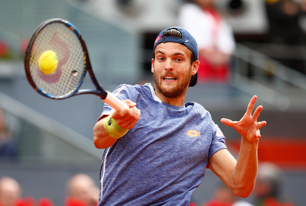 Joao Sousa hits a forehand during his quarterfinal loss. Photo: Julian Finney/Getty Images