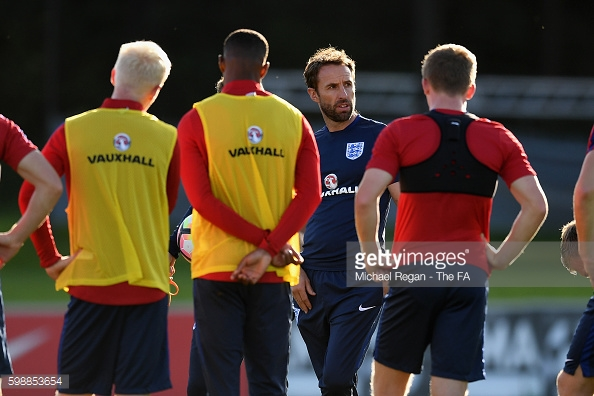 Southgate taking Under-21 training. Source: Getty