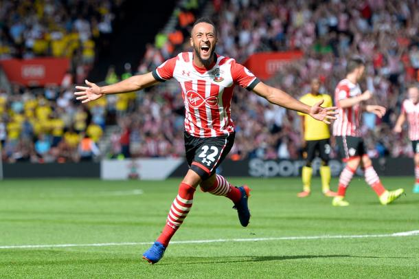 Southampton's Nathan Redmond celebrates scoring their first goal | photo: www.irishmirror.ie