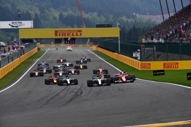 La partenza del Gran Premio di Spa   twitter - formula1