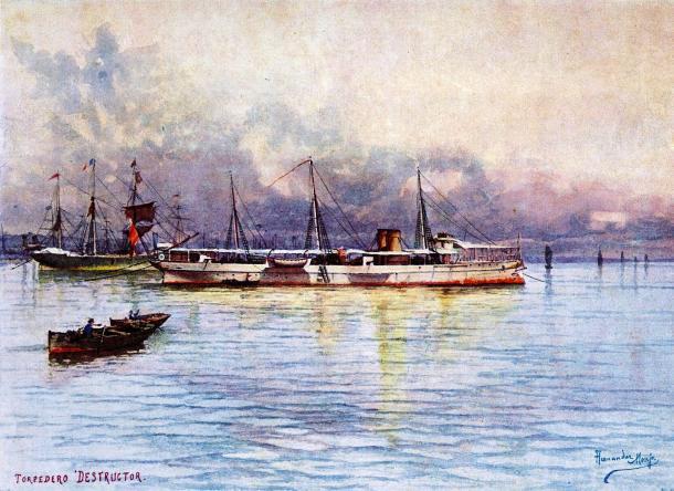 """Acuarela que representa el buque de guerra español """"Destructor"""", por Francisco Hernández Monjo (1862-1937) (Wikipedia, DP)"""