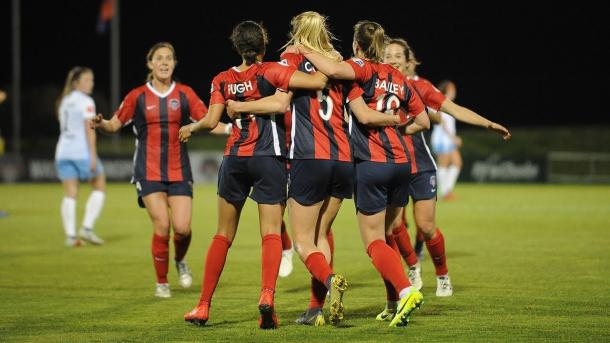 Spirit celebrate Crosson's game-winning goal against Sky Blue | Photo: NWSL Youtube