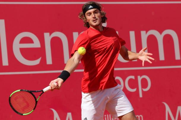 Stefanos Tsitsipas defeated the first seed Kevin Anderson to book a spot in the Millennium Estoril Open quarterfinals. (Photo by Millennium Estoril Open)