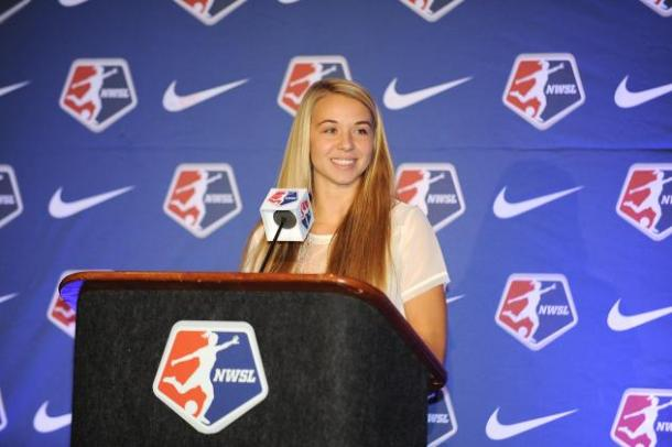 Stephanie Verdoia after being selected in the 2015 NWSL College Draft by the Boston Breakers | Source: NWSL