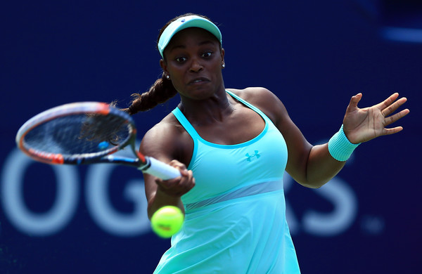 Stephens crushes a forehand during the semifinals in Toronto. Photo: Vaughn Ridley/Getty Images