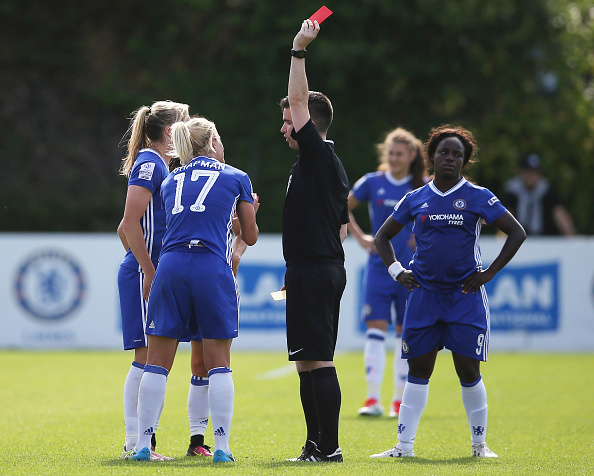 Katie Chapman sees red against Birmingham City (Credit: Steve Bardens/Getty)