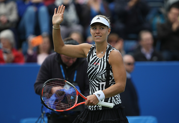 Kerber waves to the crowd after defeating Daria Gavrilova in the second round in Birmingham (Getty/Steve Bardens)
