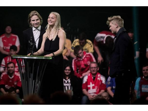 Stien Larsen during the Danish Football Award (Source : Liselotte Sabroe / Scanpix 2016)