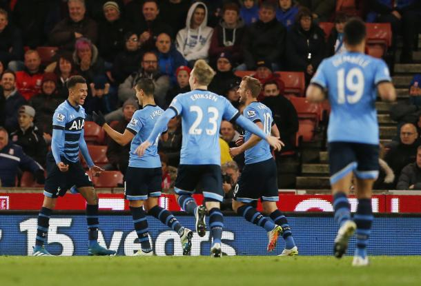 The Spurs players celebrate Alli's second goal against Stoke in April | Photo: Getty