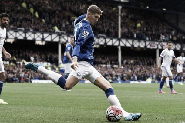 John Stones clears for Everton. Photo: Daily Mirror