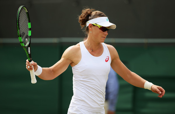 Stosur reacts during her loss at Wimbledon in 2015. Photo: Ian Walton/Getty Images