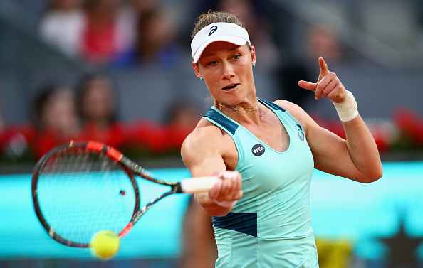 Samantha Stosur hits a forehand during her third round win. Photo: Clive Brunskill/Getty Images