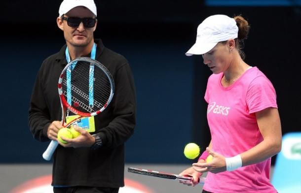 Taylor (left) and Stosur during a practice. Photo: Getty Images