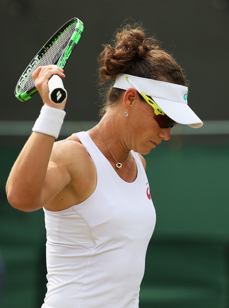 Stosur shows some frustration during her third round loss last year at Wimbledon. Photo: Ian Walton/Getty Images
