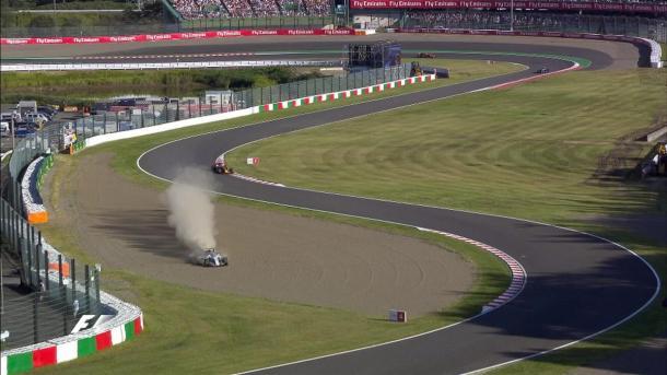 Stroll passou reto na brita e abandonou no final (Foto: Divulgação/F1)