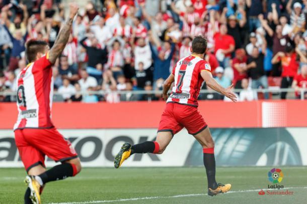 Stuani, máximo goleador del Girona FC, celebrando su gol ante el Real Madrid | Foto: LaLiga