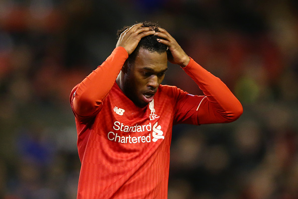 Daniel Sturridge holds head in disbelief after missing his chance. (Getty)