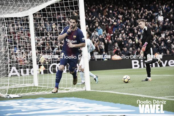 Luis Suárez celebrando un gol. Foto: Noelia Déniz, VAVEL.com