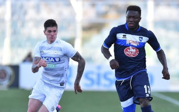 Muntari in azione contro l'Udinese, sport.sky.it