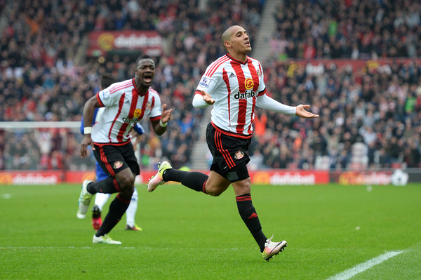 Khazri celebrates his wonder-strike, which was goal of the season for all of our writers. (Photo: Gareth Copley/Getty Images Europe)