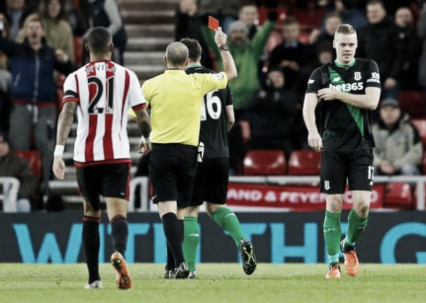 Shawcross was sent-off in the 47th minute for two bookable offences.