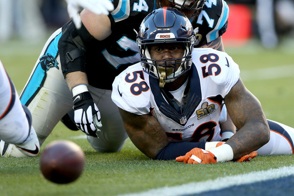 Denver Broncos linebacker Von Miller (#58) proved to be too much for the Carolina Panthers offensive line in Super Bowl 50.  Photo:  Streeter Lecka/Getty Images North America