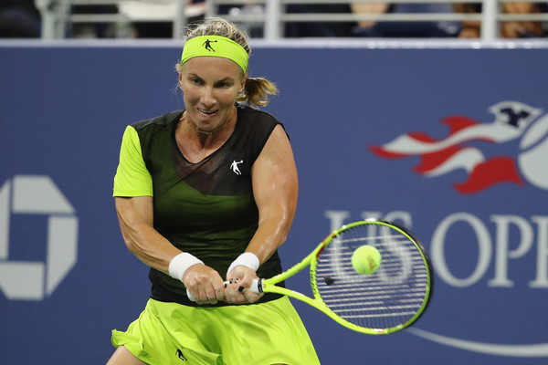 Svetlana Kuznetsova hits a backhand | Photo: Abbie Parr/Getty Images North America