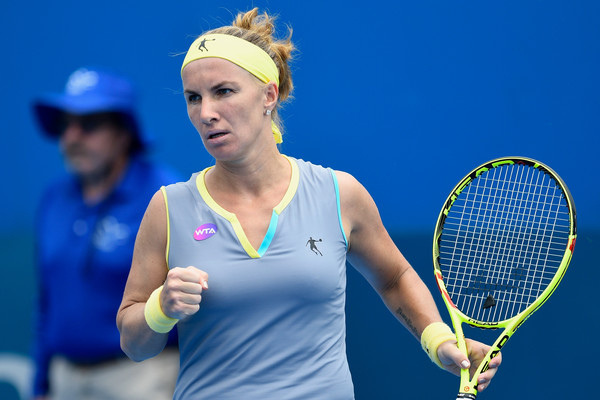 Svetlana Kuznetsova celebrates winning a point at the Sydney International | Photo: Brett Hemmings/Getty Images AsiaPac