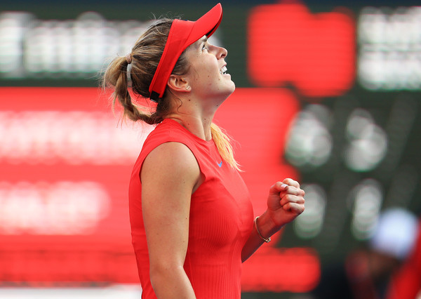 Svitolina celebrates her semifinal victory over Simona Halep. Photo: Vaughn Ridley/Getty Images